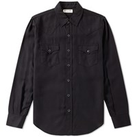 Saint Laurent Twill Western Shirt Black