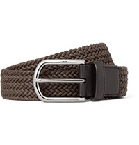 Tod's 3.5Cm Brown Leather Trimmed Woven Cord Belt Brown
