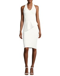 La Petite Robe Di Chiara Boni Sauvanne Halter Peplum Sheath Dress White