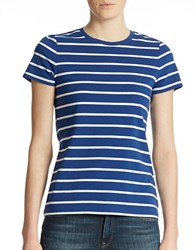 Lord And Taylor Striped Crew Neck Tee Sodalite Blue