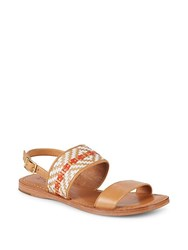 Frye Hayley Woven Leather Slingback Sandals Tan