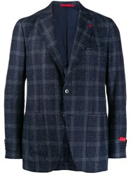 Isaia Check Fitted Blazer Blue