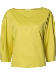 Tibi Boatneck Blouse Green