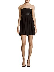 The Kooples Leather Bodice Pleated Dress Black