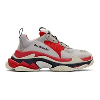 Balenciaga Red And Grey Triple S Sneakers