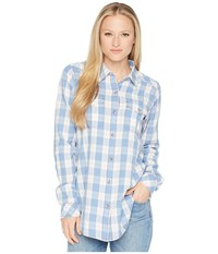 Kavu Billie Jean Shirt Riviera Long Sleeve Button Up Blue