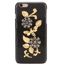 Dolce And Gabbana Embellished Leather Iphone 6 Plus Case Black