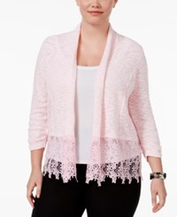 Inc International Concepts Plus Size Lace Trim Cardigan Only At Macy's Frosted Petal