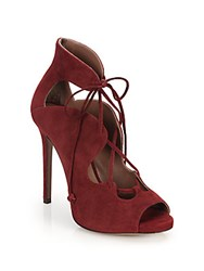 Tabitha Simmons Reed Lace Up Peep Toe Pumps Red
