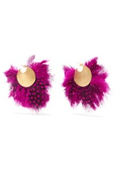 Katerina Makriyianni Fringed Gold Plated Feather Earrings Pink