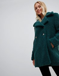 Qed London Double Breasted Maxi Teddy Coat Bottle Green