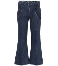Acne Studios Frayed Hem High Rise Flared Jeans Blue