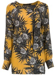 Andrea Marques Printed Silk Blouse Yellow