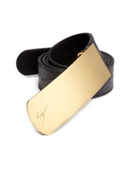 Giuseppe Zanotti Crocodile Embossed Leather Belt Black