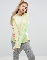 Asos Top With Truth Print And Super Long Sleeve Yellow