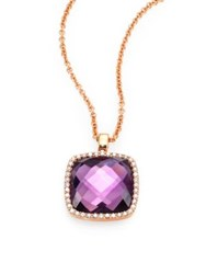 Roberto Coin Cocktail Amethyst Diamond And 18K Rose Gold Pendant Necklace Rose Gold Amethyst
