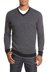 Men's Bugatchi V Neck Sweater Charcoal