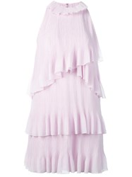 Giamba Tiered Ruffled Dress Pink And Purple