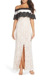 Harlyn Off The Shoulder Lace Gown Off White Black
