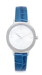 Michael Kors Cinthia Leather Watch Silver Blue