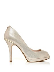 Moda In Pelle Cevelor Peep Toe Court Shoes Champagne