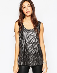 Minimum Sleeveless Metallic Animal Print Top 1020Silver