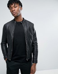 Selected Homme Leather Biker Jacket In Creased Leather Black