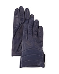 Portolano Side Zip Quilted Leather Gloves Royal