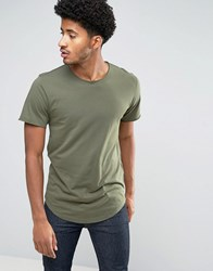 Only And Sons Longline T Shirt With Raw Hem Scoop Neck Kalamata Green