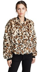 Adrienne Landau Rabbit Jacket Black Leopard