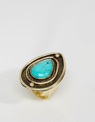 Asos Festival Teardrop Ring Turquoise Blue