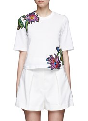3.1 Phillip Lim Floral Embroidered Silk Patch Cutout T Shirt White