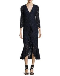 Alexis Nadege Lace 3 4 Sleeve V Neck Midi Dress Navy