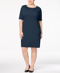 Karen Scott Plus Size Elbow Sleeve T Shirt Dress Only At Macy's Intrepid Blue