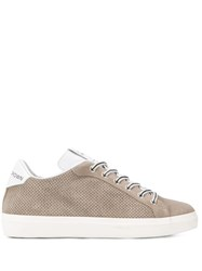 Leather Crown Perforated Sneakers Neutrals
