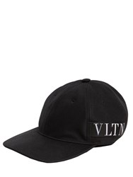 Valentino Garavani Vltn Logo Cotton Canvas Baseball Hat Black