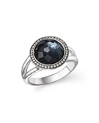 Ippolita Stella Ring In Hematite Doublet With Diamonds In Sterling Silver Black Silver