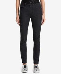 Dkny Sequined Rip And Repair Skinny Jeans Black