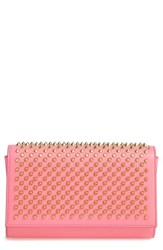Christian Louboutin 'Paloma' Spiked Calfskin Clutch Pink Dolly Cassis Gold
