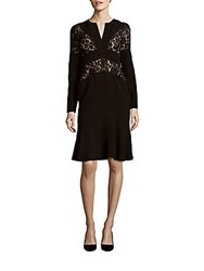 Bcbgmaxazria Krizia Lace Trim V Neck Dress Black