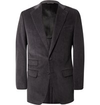 Thom Sweeney Grey Slim Fit Cotton Corduroy Blazer Gray