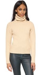 Dkny Cropped Ribbed Turtleneck Pullover Buff