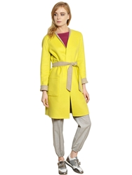 Max Mara Reversible Wool And Angora Coat Beige Yellow