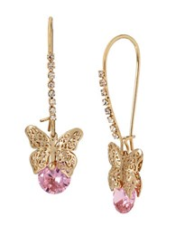 Betsey Johnson Spring Critters Cubic Zirconia Butterfly Drop Earrings Pink