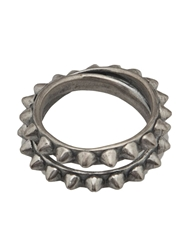 Tom Binns Double Pyramid Stud Ring Metallic