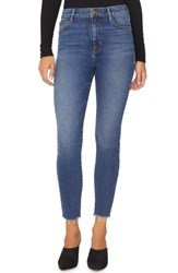 Sanctuary Social High Rise Frayed Ankle Skinny Jeans Arena Blue