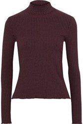 3X1 Woman Ribbed Stretch Modal Turtleneck Top Plum