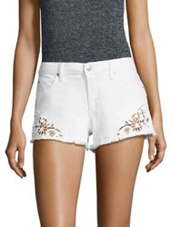 Joe's Jeans Embroidered Frayed Denim Shorts Lemley White