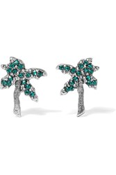 Marc Jacobs Palm Tree Silver Tone Swarovski Crystal Earrings Green