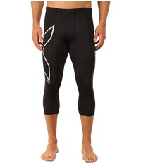 2Xu Hyoptik Compression 3 4 Tights Black Silver Reflective Men's Workout